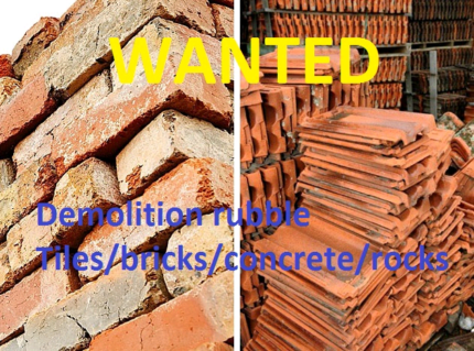 Wanted: WANTED demolition waste - bricks, tiles, concrete, rocks