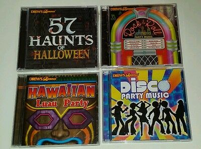 Drews Famous 4 CD Lot 2 sealed Halloween Disco Rock and Roll Hawaiian Luau party - Halloween Party Rock Music