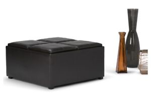 Coffee Table Storage Ottoman with 4 Serving Trays