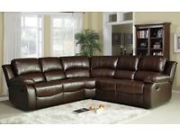 Valencia 2x2 Leather Recliner Corner Suite - Brown