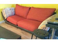 DFS 3 seater sofa leather and fabric - LOCAL FREE DELIVERY