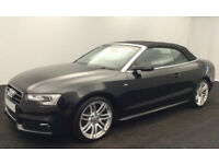 Black AUDI A5 CABRIOLET CONVERTIBLE 1.8 2.0 TFSI Petrol S LINE FROM £77 PER WEEK