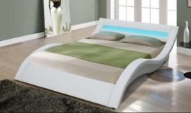 White leather led bed