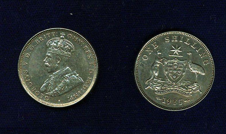 AUSTRALIA GEORGE V  1935  1 SHILLING SILVER COIN, XF+, ATTRACTIVE COIN!