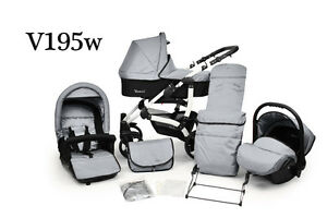 PRAM + Pushchair & FREE Car Seat ★ 3in1 Baby Stroller ★ VENICCI ★ Swivel Wheels