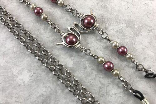 Teapot Eyeglass Chain, Rose Pearl Beaded Reading Glass Holder - Choice of length