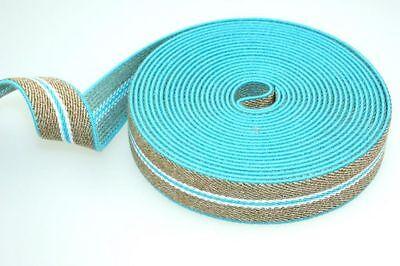 5m Hosenträgerband / Gummiband - Farbe: Türkis / Beige - 25mm breit