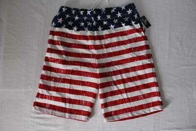 Mens Casual Shorts XL USA American Flag Gym Running Athletic Pockets Red (American Flag Running Shorts)