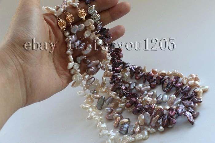 "wholesale 4pieces 18"" Natural 13mm Reborn Keshi Petal Pearl Necklace #f2456!"