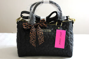 Betsey Johnson Heart Quilted Leather Black Satchel Bag Handbag
