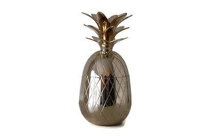 "REDUCED Shiny Brass 10"" Gold Pineapple Ice Bucket Box Hollywood Regency Style"