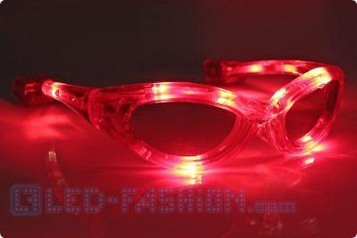 LED Brille rot Blinkbrille leuchtbrille Partybrile ledbrille blinke licht (Rote Kostüme Brille)
