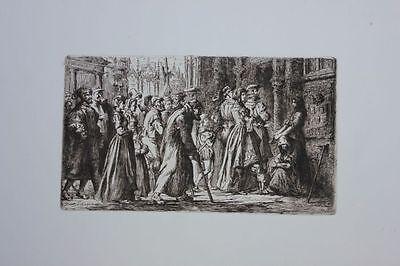Hendrik Frans Schaefels (1827-1904) - Bettler an der Kirche, Original-Radierung
