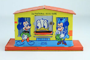 VINTAGE-CHEIN-2ND-NATIONAL-DUCK-BANK-Donald-Disney-Tin