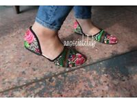 Colourful unique pattern handcrafted flat shoes. Easily match with clothes. EU37