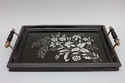 Serviertablett mit Hinterglas-Blumendekor, um 1890