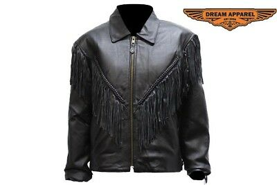 - NEW Womens Leather Braided Fringed Motorcycle Concealed Carry Jacket Coat BLACK