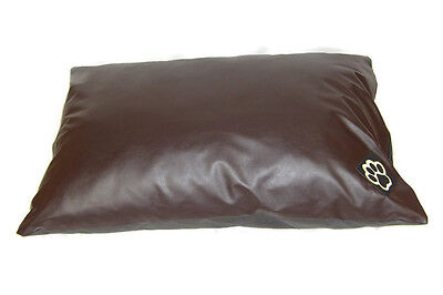 SMALL WATER RESISTANT BROWN  FAUX LEATHER S DOG BED PET BED DOGBED PETBED