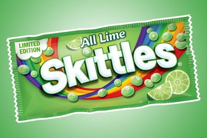 All lime skittles limited edition. Hard to Find !