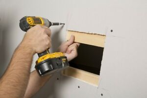 Drywall Repairs- Water Leak, Damage Hole, Tape, Smooth, Removal