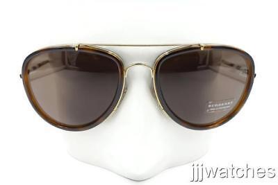 0c72546ee763 New Burberry Aviator Gold Light Havana Sunglasses BE3090Q 116773 58 $270