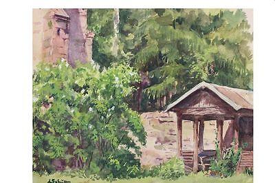 Mauern einer Burgruine mit Schutzhütte, Aquarell. signiert, L.Schütte (19)55