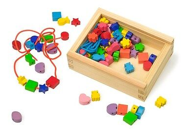 Wooden Children's Coloured Creative Threading Beads-Various shapes-Activity Toy