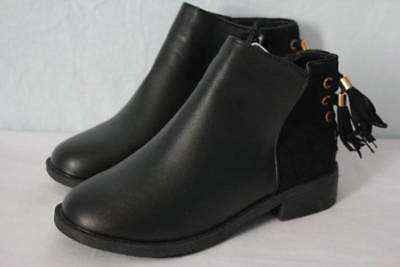 Girls Dressy Boots (Youth Girls Black Ankle Boots Size 11 Zip up Tassel Fashion Shoes Dressy)