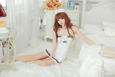 Sexy Sailor Girl Navy woman Uniform Dress Party Halloween Cosplay Costume White - White Navy Uniform Costume