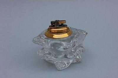 Tischfeuerzeug Kristallglas, signiert Schneider (France) , 1950er Jahre