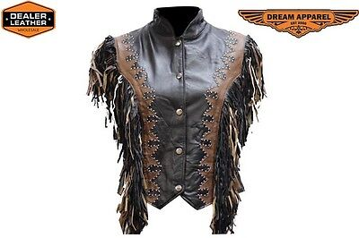 Biker Leather And Clothing - LADIES LEATHER WESTERN SHOW VEST WITH STUDS AND FRINGE LV422 BIKER APPAREL