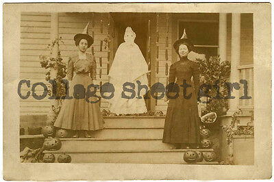 Vintage Halloween Photograph Witches and Ghost on a Pumpkin Porch Reprint #270