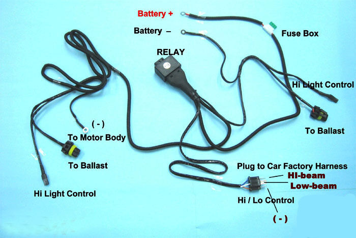 hid relay harness 9007 (9004) 12v 35w/55w bi-xenon hi/lo h/l wiring  controller