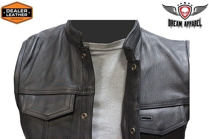 Concealed Carry Leather Outlaw MC Club & Biker Vest - free shipping