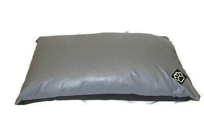 EXTRA LARGE WATER RESISTANT GREY FAUX LEATHER XL DOG BED PET BED DOGBED PETBED