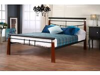 Contemporary black metal and oak Vanguard double Bed frame. As new, £80 ono
