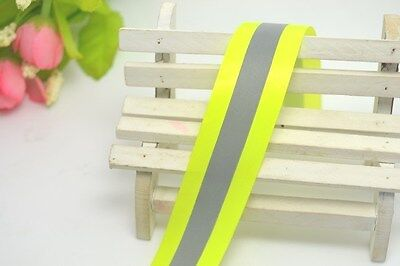 New Reflective Lime Green Gray Tape Sew On 2 Trim Fabric Material 3m 10 Feet