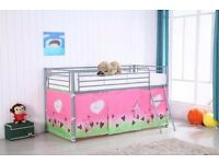 Mid sleeper cabin bed BRAND NEW With tent Silver Metal bed ( Mattress available)