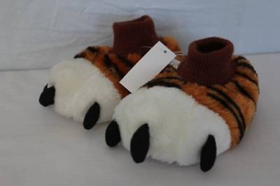 NEW Toddler Boys House Shoes Medium 7 - 8 Slip On Tiger Paws Slippers Non - Toddler Tiger