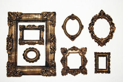 Photo Frame Set of 7 Decorative Round, Square Black Frames Gold Patina Classic