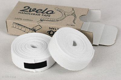 SET COTTON HANDLEBAR TAPE PLASTIC END CAP WHITE VELOX BIKE RETRO VINTAGE OLD