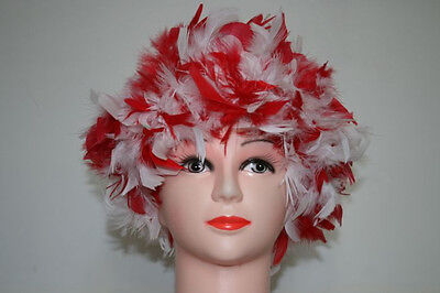 Red And White Costume (Red and white mix Chandelle Feather Costume Wig(GA,)
