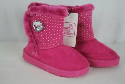 NEW Toddler Girls Pink Boots Size 9 Winter Fashion Shoes Faux Fur Rhinestones