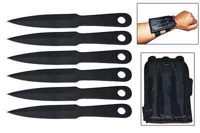 NEW 6 Piece Throwing Knife Set w/ Wrist Sheath Black Knives