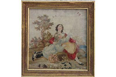 Stickereibild Stickbild - Junge Frau mit spielendem Knaben, um 1840