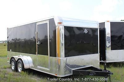 New 2021 7 X 16 7x16 Enclosed Cargo Motorcycle Trailer - Loaded W Options