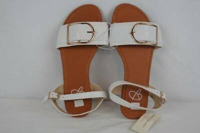 NEW Womens Sandals Size 8 Ladies Flats White Buckles Casual Summer Shoes
