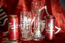 Liverpool FC Klopp Erdinger Glass and rare Carlsberg champions 2020 beer glass set