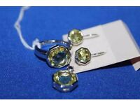 Sterling Silver Ring, Earrings and Pendant Set - All 925 hallmarked with a yellow stone