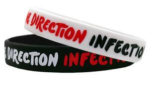 Gummi Armband One Direction Silikon Armbänder Unisex Sport Schwarz Weiß BZC22